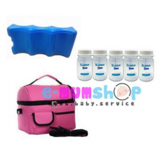 V Cool Cooler Bag Complete Set (Double Compartments) with FREE GIFT - Pink